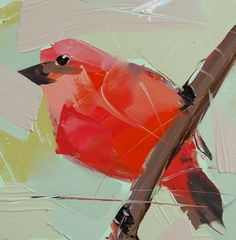 Flame-Colored Tanager    5 x 5 x 1/8 inch (12.7 x 12.7 cm)    Oil paint on archival gessobord panel. Signed. Unframed.    Copyright: Angela Moulton