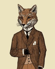 Dapper Fox Print 8x10 Fox Drawing Animal Art by ScatterbrainPrints
