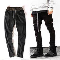 d02ab585 New Hip Hop Men Ankle Zipper Pants Classic Harajuku Drop Crotch Punk Pants  Cotton Rap Mens Black Joggers Pants-in Casual Pants from Men's Clothing ...