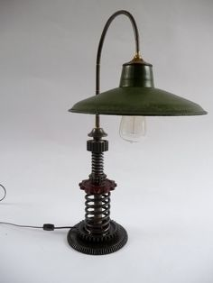 industrial art lamps | Steampunk Industrial Style Table lamp Machine age | Found Object Art