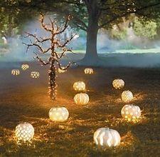 Pumpkin path lights from eHow...