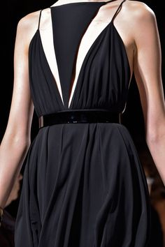 Chic black dress with graphic lines; geometric fashion details // Balmain Spring 2015