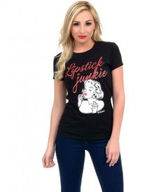 Aren't we all, dear? A soft black classic crew neck t-shirt complete with red cursive 'Lipstick Junkie' text and retro v...Price - $25.00-W4S5LIQB