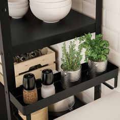 IKEA - BROR, Add-on shelf, black, Easy to attach and remove. Transforms an unused area into a practical storage space for the small things you want to have close at hand. Can be used indoors in damp areas. Only for indoor use. Black Floating Shelves, Floating Shelves Kitchen, Concrete Bags, Garage Bathroom, Ikea Kitchen Cabinets, Deep Shelves, Dish Detergent, Storage Cart, Paint Cans
