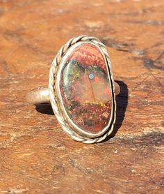 Mexican Magdalena Mine Opal Ring Sterling Silver Size: 7 Cantera