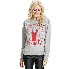 ZEARO Damen Pullover Weihnachtspullover O-Ansatz Fleece Sweatshirt Bluse Langarm T-Shirt Tops