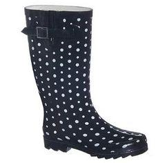 bottes de pluie à pois polka dot noir blanc