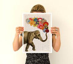 Elephant art, A3 Poster, Spring celebration Elephant art , Nursery art, Wall decor LOVE poster-Gift her, Giclee elephant poster PAN091