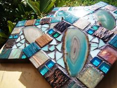 Handmade Mosaic COASTERS turquoise Agate Rich chocolate browns colors metallic italian glass tile on Etsy, $49.00