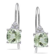 10k gold green amethyst diamond accent earrings