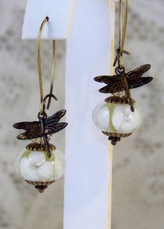 Vintage Artisan Lampwork Art Glass- Oxidized Brass Dragonfly Earrings-Handmade Jewelry Gift for Her/ Woman