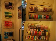 use hangers designed for slacks to hang and organize rolls of tulle and/or ribbon!