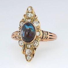 Rare Art Nouveau Black Opal & Old Mine Cut Diamond Ring