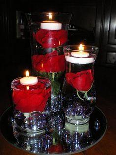 Wedding, Reception, Centerpiece, Roses, Submerged