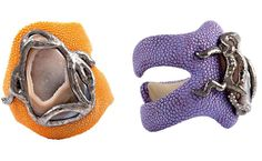Radiolarian by Giuliana Mancinelli Bonafaccia - LEFT - Orange galuchat leather bracelet with silver dipped in black ruthenium and agate - RIGHT - Purple galuchat leather bracelet with silver dipped in black ruthenium, agate and diamonds     Follow us on Facebook:  https://www.facebook.com/pages/Giuliana-Mancinelli-Bonafaccia/136138406444528