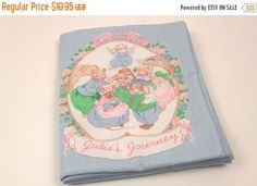 Sale on Books 50% Off - Julie's Journey - Vintage Pastel ClothBaby Book - Hand Made - Squirrels - Bunnies by ThePinkRoom