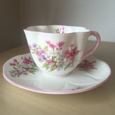 Shelley Dainty Vintage Teacup and Saucer, Pink Purple Blue Flower Tea Cup and Saucer, English Floral China, Garden Tea Party by CupandOwl on Etsy