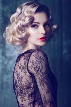 beautiful, blonde hair, curly, curly hair, elegant, hairstyles, lace dress, makeup, red lipstick, sexy, short, woman