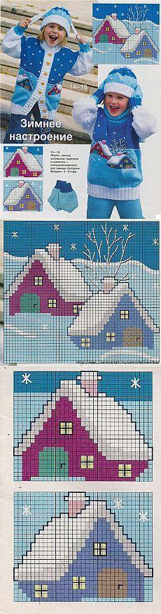 Snow cabin intarsia pattern