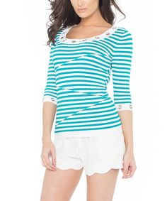 Another great find on #zulily! White & Mermaid Stripe Scoop Neck Top by Belldini #zulilyfinds
