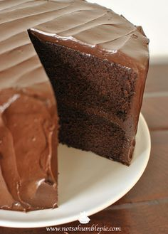 Cocoa Chocolate Cake Recipe - Is this the perfect chocolate cake?  I'm more interested in why it LOOKS so Perfect. What was done to make the sliced area so pretty??