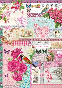 Now just in! Postcards with Roses Calambour Rice Paper #decoupagericepaper, #love, #redroses, #childrensornaments #elephants, #colorfulbirds