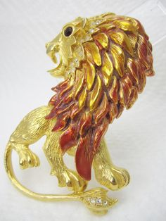 Vintage Fashion Lion Pin Signed Graziano by LadyandLibrarian, $46.00