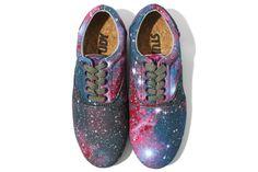 study galaxy  nebula printed kicks with cork soles