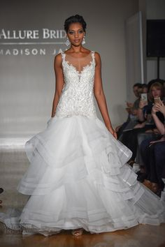 allure bridal maddison james f2017 sleeveless scoop neckline heavily embellished bodice drop waist princess glamorous tiered skirt a  line wedding dress illusion back sweep train (007) mv