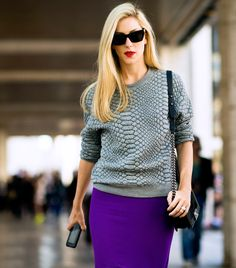 Love the statement skirt with animal print sweater! #NYFW