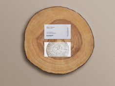 Business Cards Mockup on a Wood Slice - Free Download