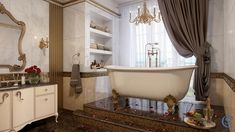 Classic Bathroom on Behance Classic Bathroom, Bathroom Interior Design, Clawfoot Bathtub, Architecture, Digital Art, Behance, Arquitetura, Architecture Design