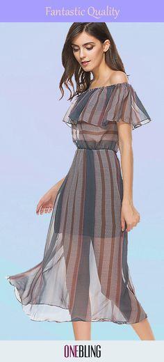 1a310b61564 Sexy Backless Sleeveless Women Loose Dress Off Shoulder Elastic Waist  Striped Dress Lotus Leaf Dress