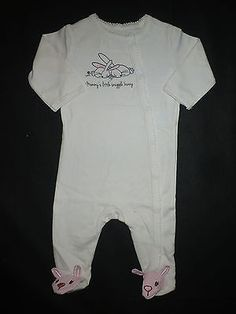 NWT TCP Baby Girl White Easter Bunny Footed Sleeper Pajamas 0-3 Months