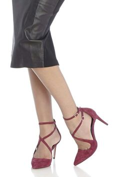 0344ac51516 Lux Ankle Strap Pump - Burgundy