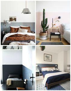 Most Simple Ideas: Minimalist Home Scandinavian Rugs modern minimalist bedroom wallpaper. Home Bedroom, Bedroom Decor, Bedrooms, Painted Headboard, Wall Headboard, Half Painted Walls, Interior Decorating, Interior Design, Room Paint