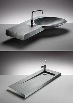 If you're tired of your basic porcelain bathroom sink, you might want to consider a volcanic slate basin from Kirkstone. Kirkstone's line of volcanic slate basins demonstrates how rock. Bathroom Sink Bowls, Bathroom Sink Design, Bathroom Shelf Decor, Oak Bathroom, Bathroom Interior, Modern Bathroom, Bathroom Marble, Bathroom Closet, Lavabo Design
