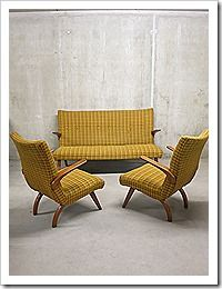 Design Bank Fauteuil.Mid Century Vintage Design Seating Group Lounge Bank Sofa