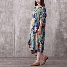 ZANZEA UK 8-24 Women Floral Loose Casual Boho Long Shirt Dress Kaftan Plus Size