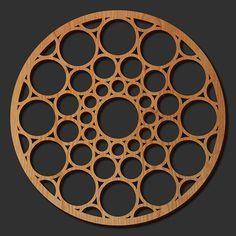 Decorative Frank Lloyd Wright Designed Laser Cut Wood Medallion