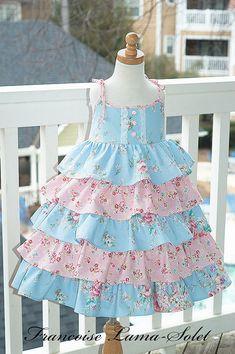 Girl dress Easter birthday flower girl wedding pageant custom ruffled twirl dress size 2T to 12 yrs - Grace. $225.00, via Etsy.