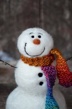Snowman Solid wool needle felted Snowmen 513 by BearCreekDesign
