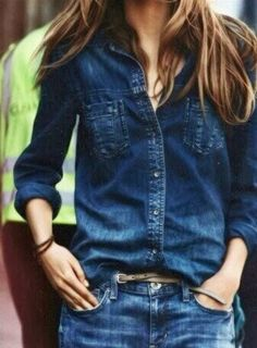 Dark Blue Denim Shirt Over Denim Jeans