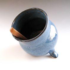 Denim Blue Salt Pig - Salt Cellar - Spice Container - Handmade Pottery - pinned by pin4etsy.com