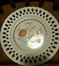 "Berggren Original ""Var sa god"" /""Help Yourself "" Welcome Plate Ceramic lace 1965"