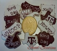 Aggie Ring Cookies by Sweet Station. Find on FB. 979-690-7502. 14 days notice requested.