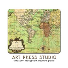 Vintage Old World Map Mouse Pad, Vintage Map Print MousePad, Father's Day Gift