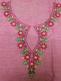 This design sketch is available on paper for tracing on cloth for hand embroidery. For more details kindly contact us 94250 58688 Embroidery On Kurtis, Hand Embroidery Dress, Kurti Embroidery Design, Flower Embroidery Designs, Embroidery Fashion, Hand Embroidery Patterns, Floral Embroidery, Machine Embroidery Designs, Embroidery Stitches