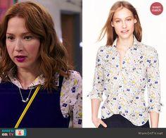 Kimmy's French printed shirt on Unbreakable Kimmy Schmidt.  Outfit Details: http://wornontv.net/46557/ #UnbreakableKimmySchmidt