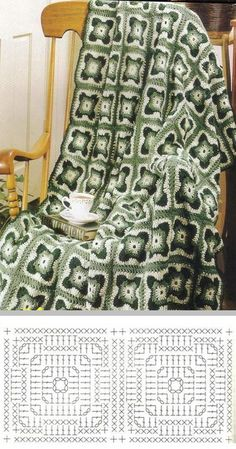 Interesting square motif using SC and DC in alternate rows . Free crochet granny afghan square pattern